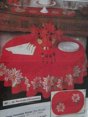 White Poinsettia On Red Rectangle Tablecloth 60x80 Inches #7939-Tri-Chem Liquid