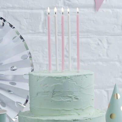 24 GLITTER CANDLES Pink and White Tall Candles Christening Birthdays Anniversary