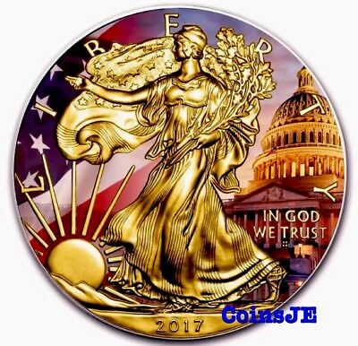 2017 American Patriotic Eagle 1oz .999 Colorized and Gold Gilded Silver Coin