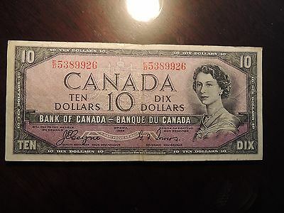 1954 BANK OF CANADA $10 TEN DOLLARS BC-32a E/D 5389926 COYNE TOWERS DEVILS FACE