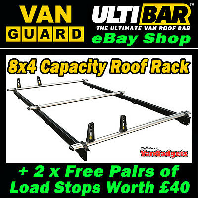 (SWB L1) 3 x Van Guard ULTI Bars 8x4 Roof Rack + Rear Roller VW Caddy 2010-2015