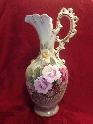 """Lefton Heritage Green Roses Large Ewer Pitcher 13.75"""" Tall Reticulated Rare!"""