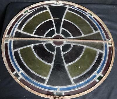Rare Pair of Antique Round Stained Glass Church Vent Windows Cast Iron Frames