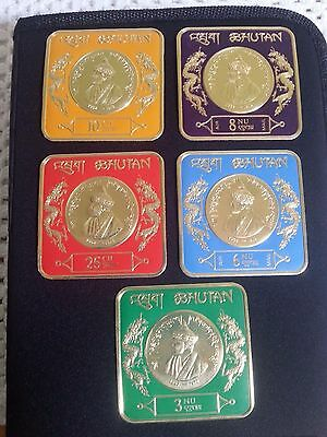 Bhutan King Jigme Dorji Series Gold Foil Embossed 5 Stamp Set