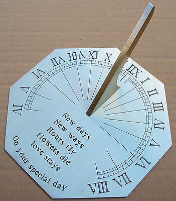 Personalised Octagonal Brass Sundial, Fine Engraving. Wording 100 characters max
