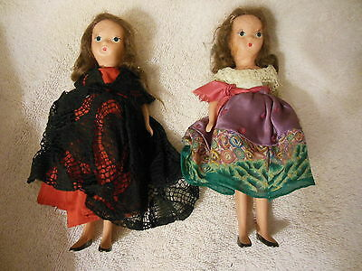 "TWO  7"" All Bisque girl "" dolls   FREE Shipping"