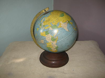 "Vtg 8"" Replogle Metal Globe Brueckmann Cartographer '50s Old Countries Used Hard"