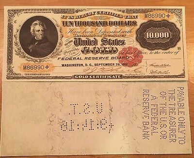 Copy Reproduction 1900 $10,000 Gold Certificate US Paper Money Currency Note