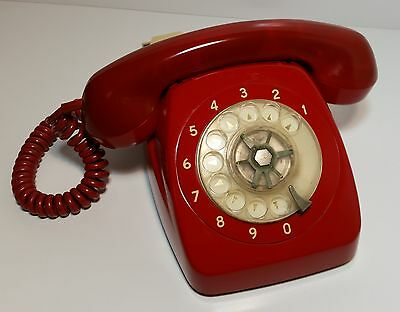 Vintage Retro Rotary Dial Red Telephone Awa (802 Telecom) *tested - Works Great*