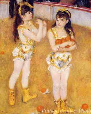 """1956 Vintage CHILDREN /""""TWO LITTLE CIRCUS GIRLS/"""" by RENOIR COLOR Art Lithograph"""