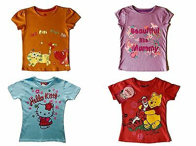 Girls T Shirt Tops Character NEW Kids Childrens Summer Outfits Age 2 3 4 5 6 Y