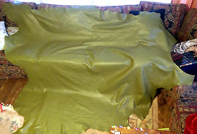 """Real LEATHER Untrimmed Hide upholstery material Olive Green Mid Century 82""""x68"""""""