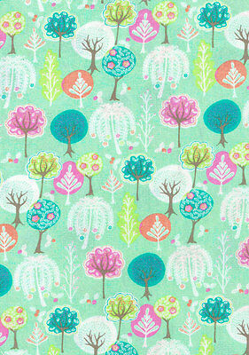 Spring Flowering Trees on Green Fabric Sold Per 1/2 Metre 100% Cotton