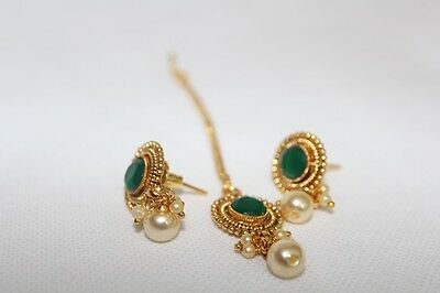 Indian Traditional Ethnic Bollywood Maang Tikka Bindi Stud Earring Set 6