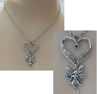 Silver Fairy Heart Pendant Necklace Jewelry Handmade NEW Chain Adjustable