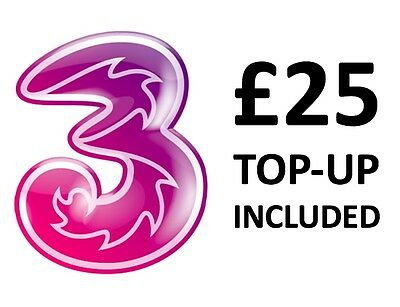 Three UK SIM Card with £25 Credit (Official Trio PAYG SIM) ✔Unlimited Data