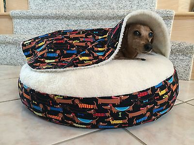 NEW Dachshund Small Dog Bed Snuggle Bed for Burrowing Dog New Cute Doxie Fabric
