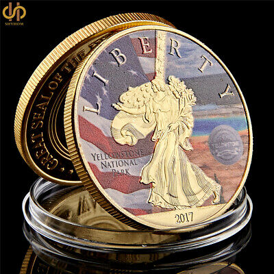 2017 USA Statue of Liberty Yellowstone National Park American Gold Plated Coins