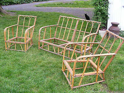 Beautiful Vintage Bamboo Rattan Furniture Set Sofa Couch 2 Chairs 1920 1930's