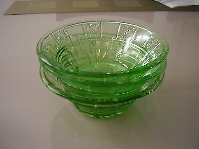 Doric Green Depression Glass Berry Bowls Set of Three FREE SHIPPING.
