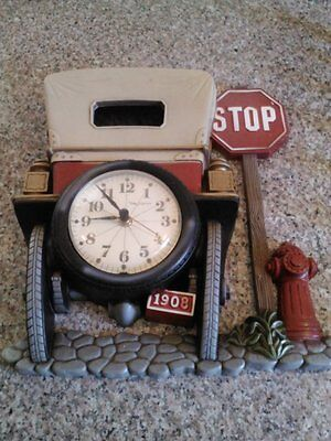Vintage 1975 New Haven Burwood Clock Antique Car 1908 Wall Clock Plastic Working