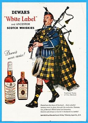 1959 Dewar's White Label Scotch MacLeod Clan Tartan Bagpipes Art Ad