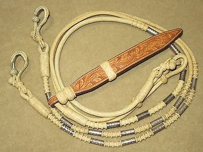 L@@K~Incredible BLUE RIBBON Petite Braided Rawhide Romel Reins w/STERLING SILVER