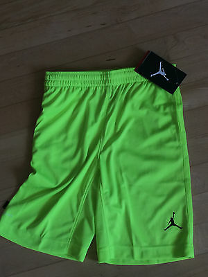 NEW Boys Michael Jordan Jumpman Neon Yellow Athletic Shorts Large 6 7 $36 Retail
