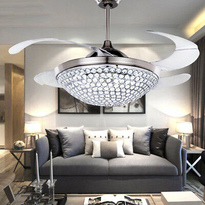 Led Crystal Ceiling Fan Light Kit Retractable Blades Timing