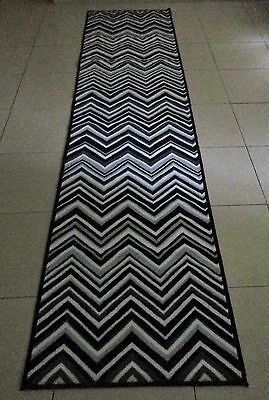 New Chevron Black Rubber Back Hallway Runner Floor Rug 67X300Cm