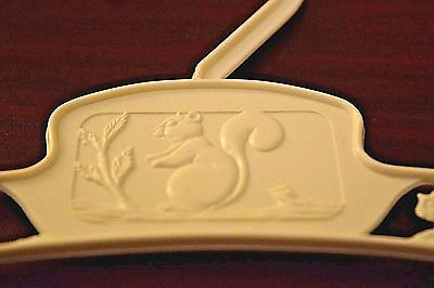 Vintage Baby Hard Plastic Child's Clothes Hangers Squirrels White Take a L@@K!!