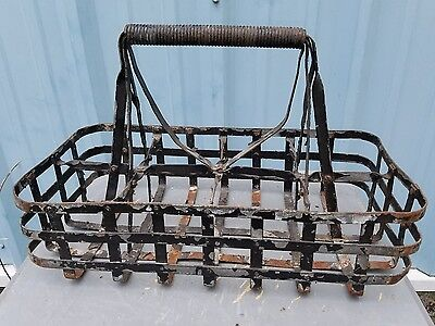 Vintage Antique Milk Bottle Crate Carrier Wood Steel Holder Milk Jug 8
