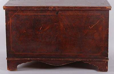Diminutive Original Salmon Paint Decorated Pa.  Blanket Chest Circa 1800