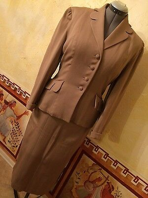 Vintage 40s Blazer & Wiggle Pencil Skirt Suit Camel Tan Scallop Trim Size S-M