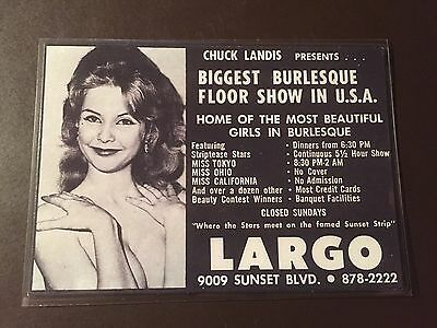 Largo Burlesque Club August 1969 Sunset Blvd - Hollywood, Ca. advertising card