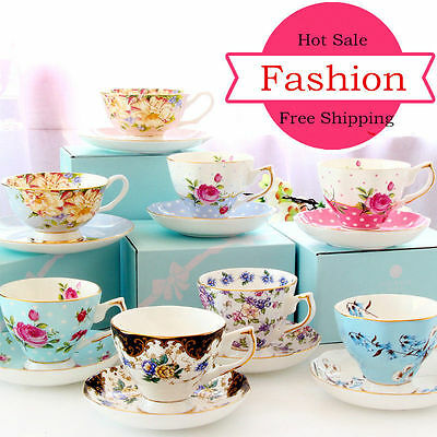 British Bone China Coffee Cup Saucer Ceramic Coffee Set Flower Tea Mug Teaware