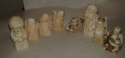 Vintage Ivory Color ? Carved Chinese Japanese Figurines Game Pieces Lot Asian