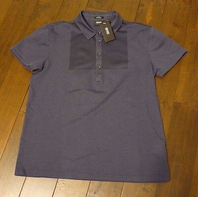Hugo by Hugo Boss blue mercerised men's polo slim fit size LARGE NEW WITH TAG