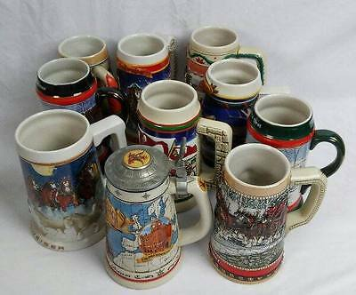 Lot 10 Budweiser Steins 1984-2005 Holiday Membership Olympics