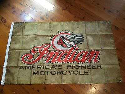 USED Man cave flag 5x3 ft INDIAN MOTOR CYCLES pool room flag wall hanging