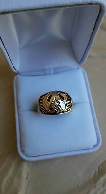 ~ Vintage Masonic Ring, Diamond 10K solid Gold