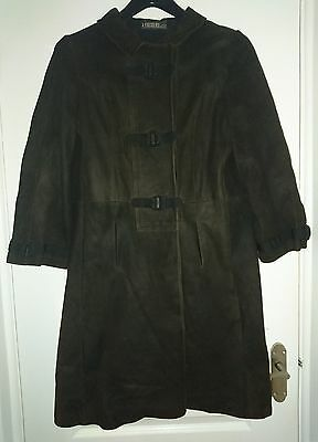 Vintage LOEWE 1846 Brown Suede Leather Long Coat Size 12