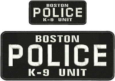 boston police k-9 unit  emb patch 4x10 and 2x5 hook on back  white