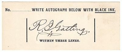 Richard Gatling, Machine Gun Inventor - Bold Black Ink Signature - IAA COA