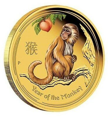 2016 Australian Lunar Series Monkey 1/10 oz gold proof coloured coin Great Gift
