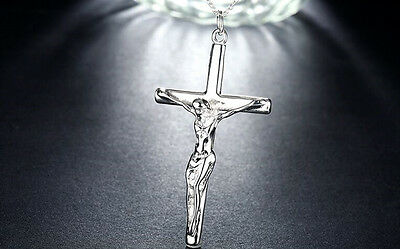 Mens Womens 925 Sterling Silver Religious Cross Jesus Pendant Chain Necklace N76