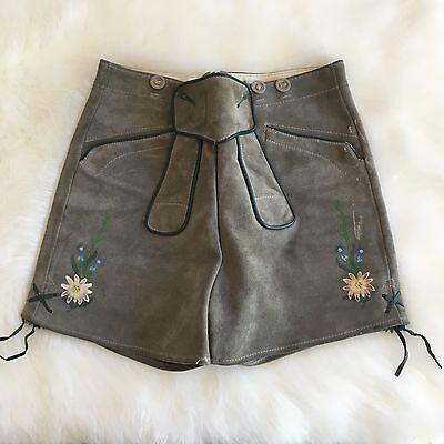 Vintage European Lederhosen Leather Suede Shorts Women's Small High Waisted