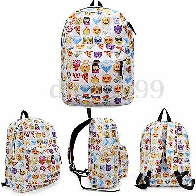 AU Women Girls Emoji Print Backpack Shoulder Bag School Book Rucksack  Satchel