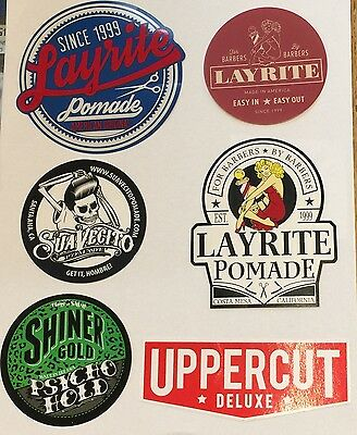 NEW Set Of 6 Stickers! Including Suavecito, Uppercut, Layrite, Shiners Gold
