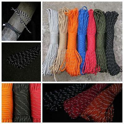 100FT/100M 550 Paracord Parachute Cord 9 Strand Luminous Reflective Lanyard Rope